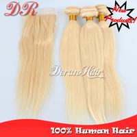 "Cheapest 6A Grade #613 Brazilian Virgin Hair Extension 4X4"" Lace Top Closure With Brazilian Hair Virgin Bundles Silky Straight"