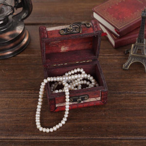 Jewelry Ring Storage Box Case Retro Boxes Vintage Stamp Flower Small Metal Lock Treasure Chest Handmade Wood Display Case(China (Mainland))