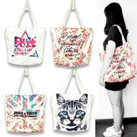 Rock Faith Latest Harajuku Style Retro Shoulder Bag Diagonal Package Printing Animal Flowers Canvas Shopping Bags