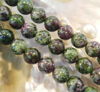 """10mm Red Green Ruby Zoisite Round Loose Beads 15"""""""