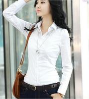 2015 spring new women's cotton shirt female Slim was thin long-sleeved shirt