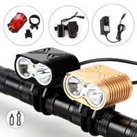 Free shipping New 5000Lumen 2x CREE XM-L2 LED Bicycle Bike Light lamp Headlight Headlamp Head Front light& Rear light