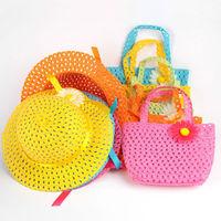 Beach Hats Bags Girls Kids Flower Straw Hat Summer Hat Cap Tote Handbag Bag Suit