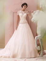 New Style Beading Belt Lace High Neck Organza Wedding Dresses with Short Sleeves A Line Designer Court Train NF225