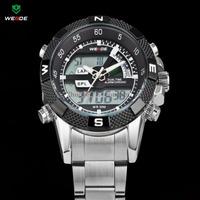 WEIDE Luxury Brand Men Sports Watch 3ATM Waterproof Multifunction Quartz Digital LED Backlight Military Watches Steel watches