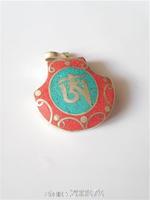 TBP821  Tibetan White Metal Copper Silvertone OM HUM Amulet Pendant wholesale Tibet Amulets Man Charms