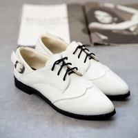 2015 winter spring new fashion pointed toes lace-up oxfords solid buckel women's Korean British school white shoes