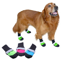 4pcs/set Waterproof Pet Dog Shoes Hot Selling 3 Color Ultra-Wear Oxford Fabric Large Dog Boots Non-slip Protective Rain Boots