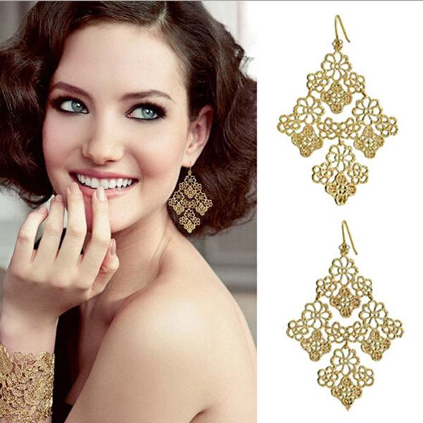 Jewelry Special Store Women Drop Earrings Hollow Flower Big Cross Earrings Female 18K Gold Plated Fine Jewelry Earring for women(China (Mainland))