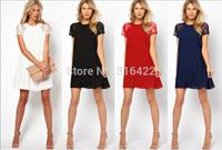 2015 New Summer spring women clothing lace short sleeve white back chiffon Underskirt sexy lace dress Plus size  Z 103