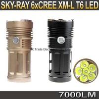 SKY RAY 7000 Lumens 6T6 6 x CREE XM-L XML T6 LED Flashlight Head Torch 18650 Lanterna Lantern Flash Light By 4*18650