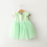 New Girls Lace  Mesh Summer Dresses  Kids Elegant Brand Cotton Dress White Yellow Light Blue  6 pcs/lot