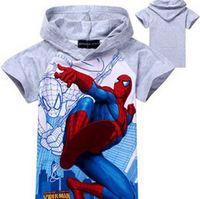 New Children Summer Short Sleeve T-Shirts Boys Cartoon Spiderman Tees Kids Fashion Hoodies In Stock Retail YCZ045