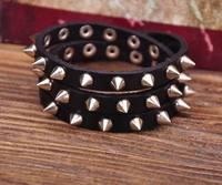 G119 Black Rock R&B Sharp Studs Triple Wrap Leather Wristband Bracelet Cuff