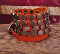 S317 Orange Rock R&B Round Studs Multi 5-Wrap Leather Wristband Bracelet Bangle