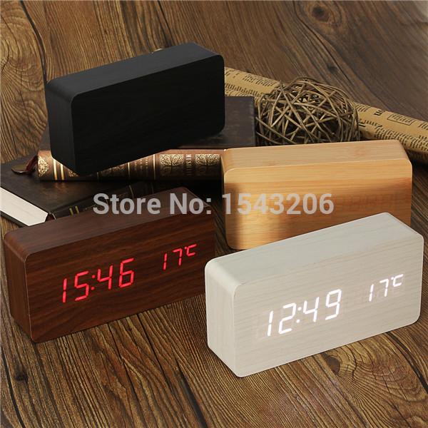 Modern sensor Wood Clock Dual led display Bamboo Clock digital alarm clockLed Clock Show Temp Time Voice Control(China (Mainland))