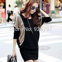 2015 spring women's plus size loose batwing sleeve knitted long-sleeve dress slim hip basic Dress Slim Elegant