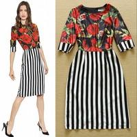 2015 New Designer Fashion Elegant Ladies' Rose Print Striped Slim Dress Office Career Dress Free Shipping  F16785