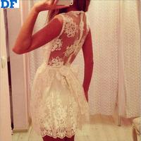 White Lace Dress Women Pure Lace Bow Casual Dress Vestidos De Festa 2015 Sheer Sleeveless Sexy Women Summer Dress Free Shipping