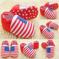 Baby Girls Boys Red White Stripes Crib Shoes Soft Sole Infants Shoes Prewalker