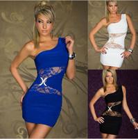 Hot Sale Fashion One Shoulder Package Buttocks Vestido De Festa Ladies Lace Bandage Dress