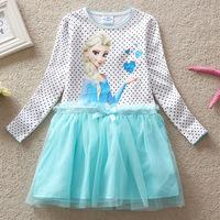 Children's spring and autumn girl cartoon ice all new gauze  Princess Dress