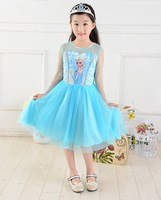 Children's 2014 new girls ice romance dress Europe long sleeved gauze Princess Dress s
