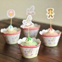 192pcs little bear & Trojan cupcake wrappers & topper picks,kids birthday party favor,homemade cake decoration,cake accessories