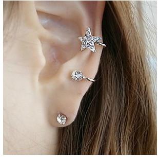 ES840 Hot Fashion 2015 New Sweet flash imitation diamond stars unique ear clip ear bone screws Wholesale Jewelry Accessories(China (Mainland))