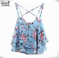 Roupas Feminina 2015 Summer Women Fashion Latest Cropped Tops Blue Spaghetti Strap Floral Printed Sexy Beach Chiffon Camis