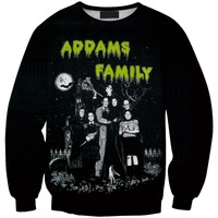 Sws0125  New Arrivai Europe Hot Digital Printing The Addams Family O-Neck Pullover Hoodies Sweatshirts 3D