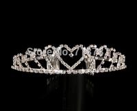 wedding tiara jewelry heart shape crystal rhinesone crown lady/girls favourite bridal hair jewelry party tiara high quality