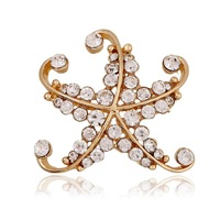 2015 new Hot Sale  High Quality Brooches Crystal Personalized alloy starfish Rhinestone  Broches For Wedding  pins jewelry