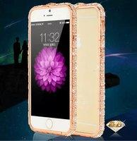 Wholesale 10pcs Luxury Diamond Aluminum Bumper Case for iPhone 6 Plus 5.5 Metal Frame Rhinestone Bling Cover+Retail Box