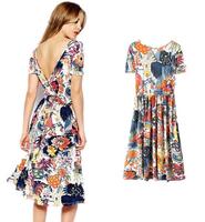 woman garden style printed halter dress sexy high waist short sleeve maxi dresses