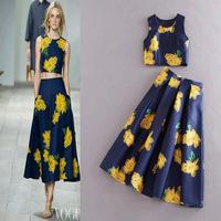 2015 New European Fashion Women,Brand quality,Catwalk models round neck sleeveless printed vest, skirt suit,Lady/Women skirt set