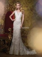Sheath Beaded Vintage Lace Wedding Dresses Keyhole Back Bridal Gowns Cap Sleeves V Neck Elegant Formal NF228