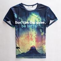 "[Magicl] 2015 summer Fashion t-shirt unisex men/women galaxy ""don't be the same be better"" print casual 3d t shirt brand tees"
