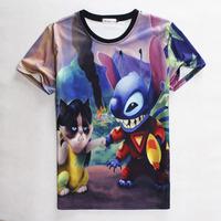 [Magic] Free shipping 2015 Women/Men t shirt Cartoon animation printing 3D High quality hip hop woman T- shirt 1826
