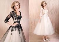 2015 New Free Shipping Shirred Black&White Three Quater Ball Gown Applique Princess Tea Length Wedding Dress Vestido de Novia