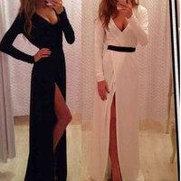 Woman Casual Dress New Fashion 2015 Spring Women Clothing Long Sleeve A-Line Slim Bodycon Dresses Black White Long Party Dress