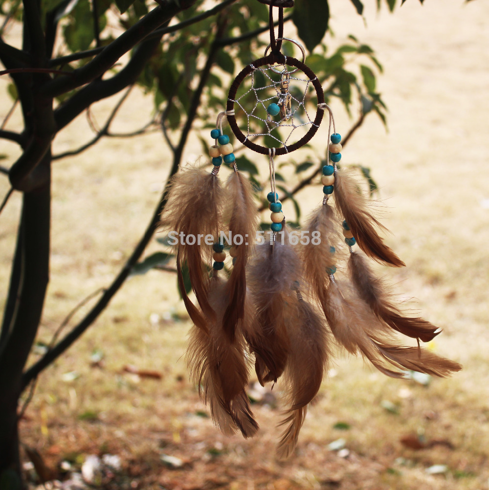 2015 New fashion gift Hot brown Dreamcatcher skull Wind Chimes Indian Style Feather Pendant Dream Catcher Gift(China (Mainland))
