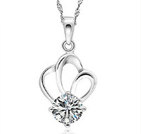 Luxury Austrian Crystal Zircon Necklace For Women Genuine 925 Sterling Silver Crown Pendant Necklace Wholesale