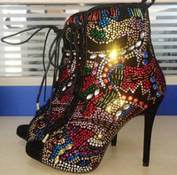 Free Shipping 2015 Lace Up Cut Out  Sandals Boot Women Leather Shoes HIgh Heels Rhinestone Crystal Winter Boots