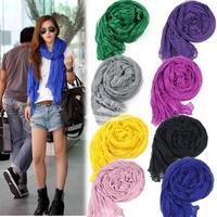 Fashion Women's Long Crinkle Scarf Wraps Soft Shawl Stole Pure Color 8 Colors Hot sales
