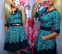New Fashion 2015 Spring Women Casual Half Sleeve Print  Elegant Party Dresses