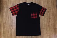 Mens T-Shirt Red Tartan Pocket Short Sleeve Tee Shirt T shirt for man