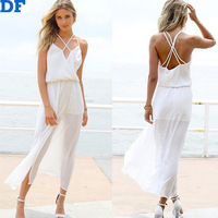 White Women Chiffon Casual Dress Vetidos Femininas 2015 Elegant Long Women Beach Summer Dress Backless Sexy Party Dresses SALE