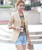 2015 female models fashion Slim V-neck suit women's one button blazers elegance colorful long-sleeved OL jacket free shipping