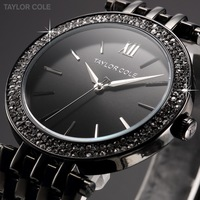 Taylor Cole Lady Relogios Analog Quartz Steel Dress Casual Bracelet Band Clock Black Crystal Bezel Women Rhinestone Watch /TC004